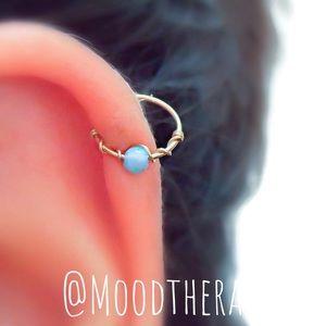Blue Fire Opal Cartilage Hoop Earring Nose Ring